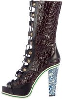 Rodarte Embossed Lace-Up Boots