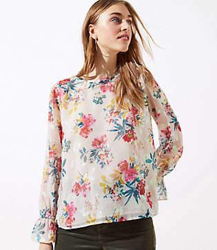 LOFT Floral Bell Cuff Blouse