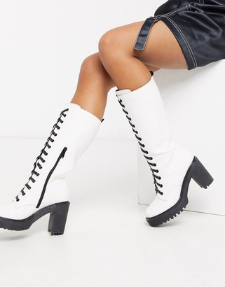 Public Desire Aneko knee high lace up chunky boot in white