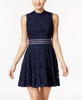 City Studios Juniors' Glitter Lace Illusion Party Dress