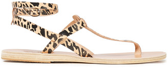 Ancient Greek Sandals Estia Leopard-print Leather Sandals