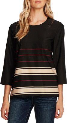 Vince Camuto Linear Plains Border Stripe Twill Blouse