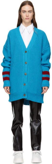 MSGM Blue Ribbed Long Cardigan