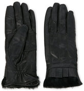 c-lective Leather Gloves with Pleating & Real Fur Trim