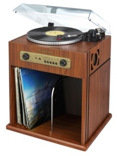 Studebaker SB6059 Stereo Turntable with Bluetooth Receiver and Record Storage Compartment