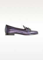 Marc Jacobs Virginia - Purple Lame Leather with Buckle Loafer