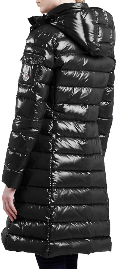 Moncler Long Puffer Coat with Hood, Black