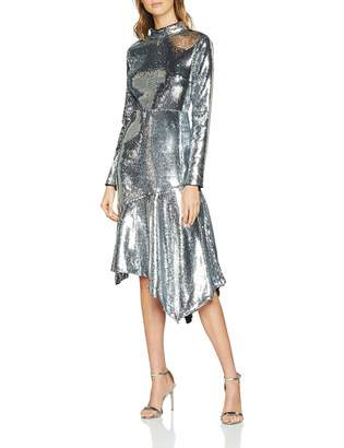 Warehouse Women's Sequin Open Back High Neck Midi Long Sleeve Party Dress