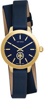 Tory Burch Women's Swiss Collins Blue Leather Wrap Strap Watch 32mm TB1303