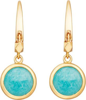 Astley Clarke Stilla 18ct gold-plated amazonite earrings, Women's, Yellow gold
