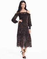 White House Black Market Picadily Off-the-Shoulder Velvet Burnout Dress