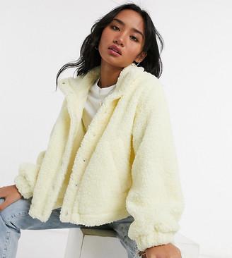 ASOS DESIGN Petite fleece cropped jacket in pale yellow