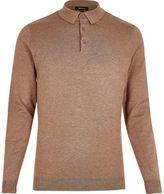 River Island MensBrown long sleeve polo shirt