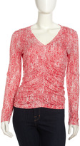 Paperwhite Printed Ruched-Front Top