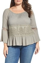 Democracy Plus Size Women's Mixed Media Peplum Top