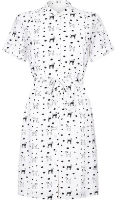Yumi Dalmatian Dog Print Shirt Dress
