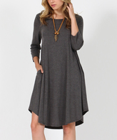 Charcoal Three-Quarter Sleeve Side-Pocket Swing Tunic Dress
