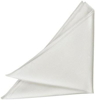 DQT Men Plain Solid Check White Pocket Square