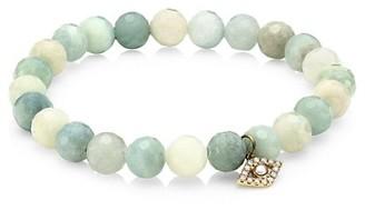 Sydney Evan 8MM White freshwater Pearl, Diamond Aquamarine Evil Eye Bracelet
