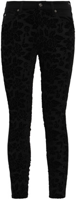 7 For All Mankind Floral-appliqued Layered Lace Mid-rise Skinny Jeans