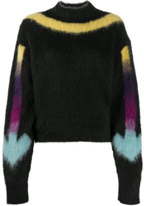 Off-White fuzzy knit Arrow logo jumper