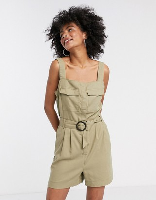 Only utility romper with belted waist in beige