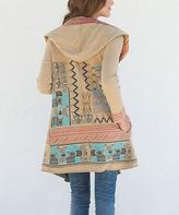 Paparazzi Khaki Geometric Embroidered Hooded Cardigan