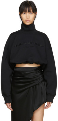 Alexander Wang Black Cropped Logo Turtleneck