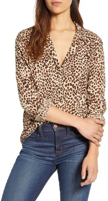 Lucky Brand Leopard Print Long Sleeve Top