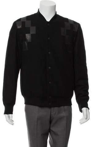 Marcelo Burlon County of Milan Leather-Trimmed Wool Bomber Jacket