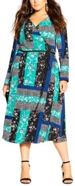 City Chic Trendy Plus Size Patchwork-Print Midi Dress