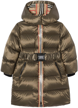 Burberry Girl's Abriana Hooded Puffer Icon Stripe Coat, Size 3-14
