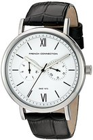 French Connection Harley Men's Quartz Watch with White Dial Analogue Display and Black Leather Strap FC1223B