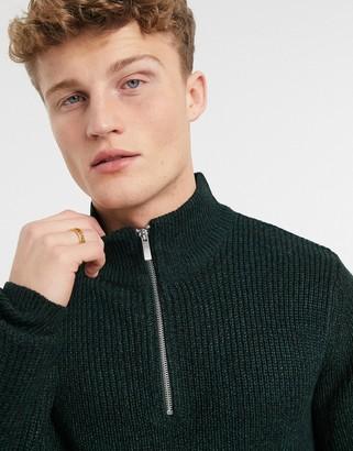Burton Menswear fisherman knitted half-zip jumper in green