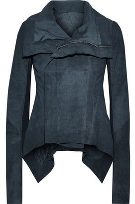 Rick Owens Naska Ribbed Knit-paneled Coated Leather Biker Jacket