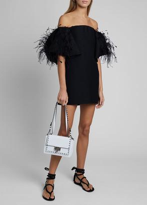 Valentino Off-the-Shoulder Feather-Trim Mini Dress