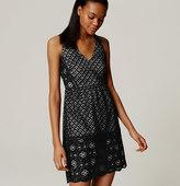 LOFT Mixed Lace Flare Dress