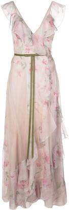 Marchesa Floral Ruffled Long Dress