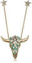 Roberto Cavalli Goldtone Brass Long Necklace w/Crystals and Mint Green Beads