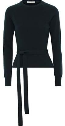Autumn Cashmere Cutout Belted Merino Wool-blend Sweater