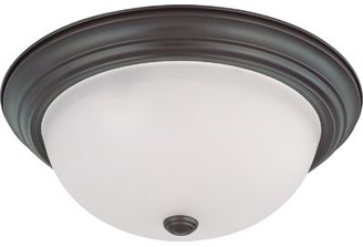 "Myrtle Avenue 3-Light Flush Mount Winston Porter Fixture Finish: Nickel, Shade Color: Frosted, Size: 9""H X 17"" W X 17"" D"