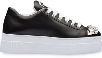 Miu Miu Crystal-Embellished Platform Sneakers