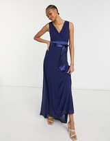 Thumbnail for your product : TFNC bridesmaid plunge front bow back maxi dress in navy