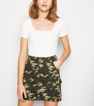 New Look Pink Vanilla Leather-Look Animal Print Skirt