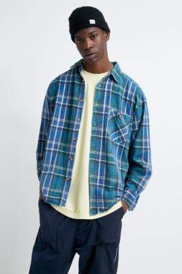 Urban Renewal Vintage Blue Checked Flannel Shirt - blue at Urban Outfitters