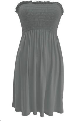 ZEE FASHION New Womens Ladies Plain Sheering Boobtube Bandeau Summer Strapless Short Dress TOP (L/XL(16-18)