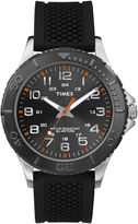 Timex Main Street Mens Black Silicone Strap Watch
