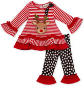 Rare Editions 2-Pc. Striped Reindeer Holiday Tunic & Leggings Set, Little Girls (4-6X)