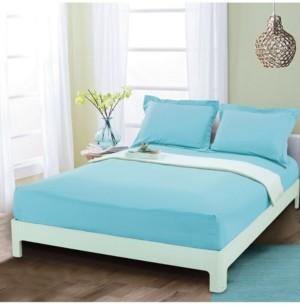 Elegant Comfort Silky Soft Single Fitted Sheet Full Aqua Bedding