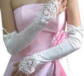 SODIAL(R) Ivory Wedding Party Fingerless Pearls Lace Formal Bridal Gloves Long 45+/-2 cm